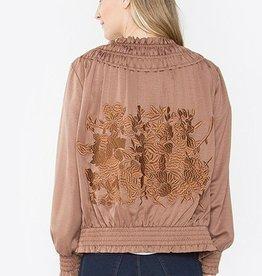 Detroit Pop Up Satin Embroidered Bomber Jacket