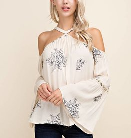 Embroidred Bell Sleeve Top