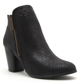 Perforated Black Bootie