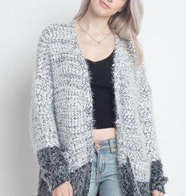 Fuzzy Color Block Cardigan
