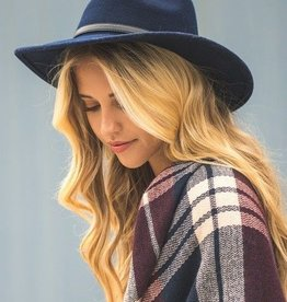 Navy Wool Panama Hat