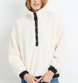Half Button Fur Pullover