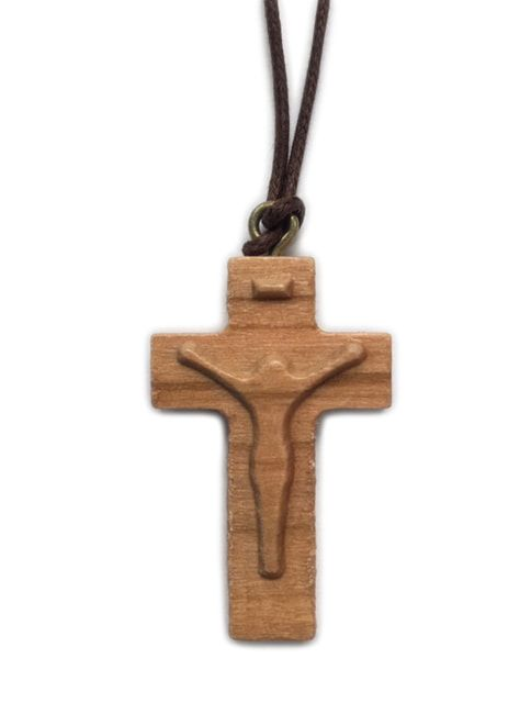 Olive Wood Carved Corpus Cross w/Cord