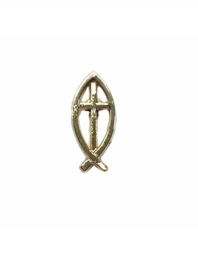 Gold Ichthus w/Cross Lapel Pin