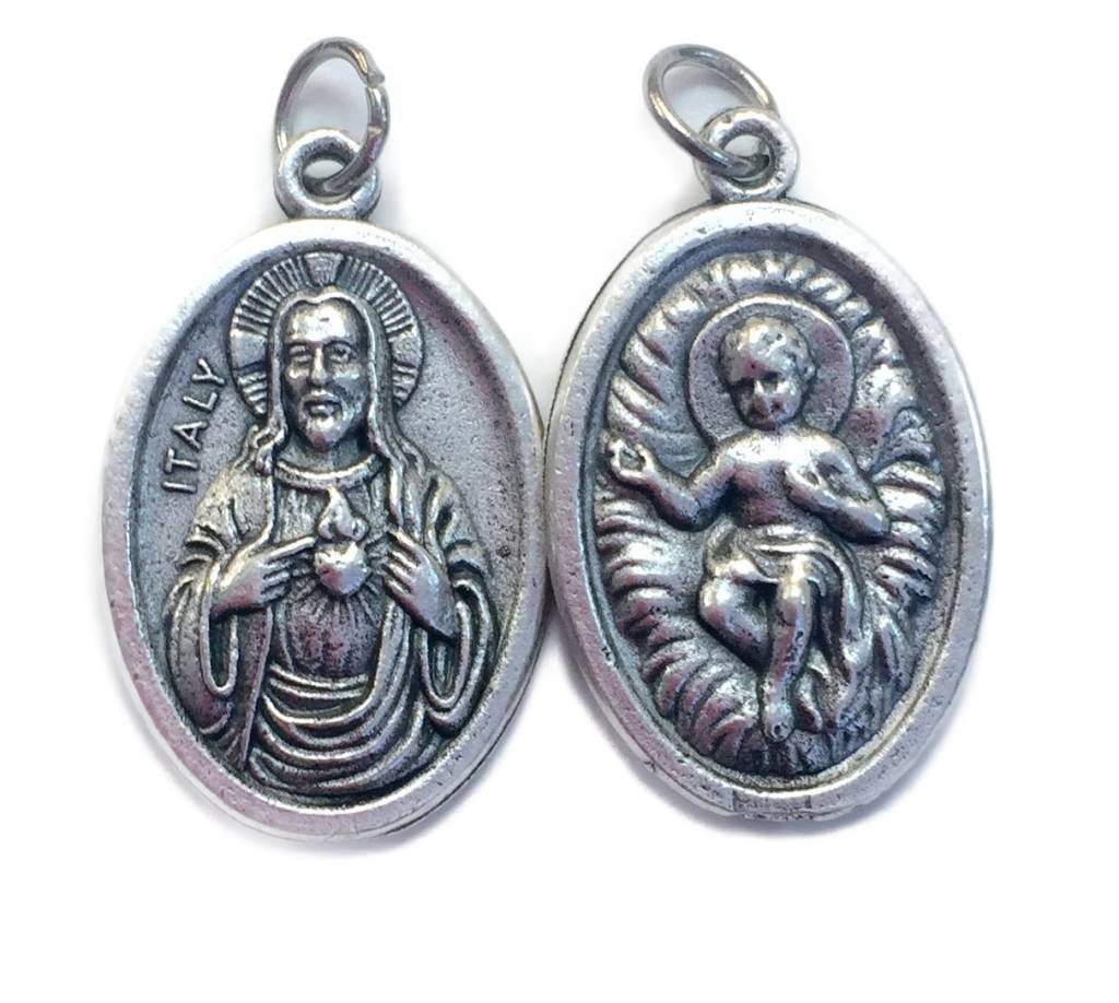 Infant Jesus/ Sacred Heart Oxidized Medal