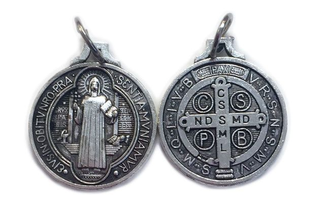St. Benedict Large Round Oxidized Medal