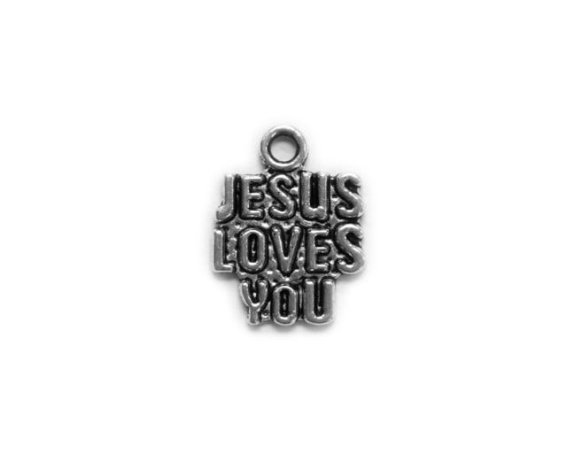 Jesus Loves You Metal Charm