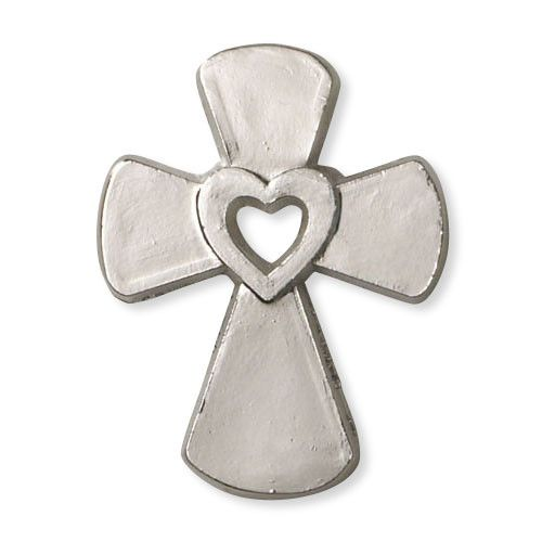 Cross with Heart Lapel Pin