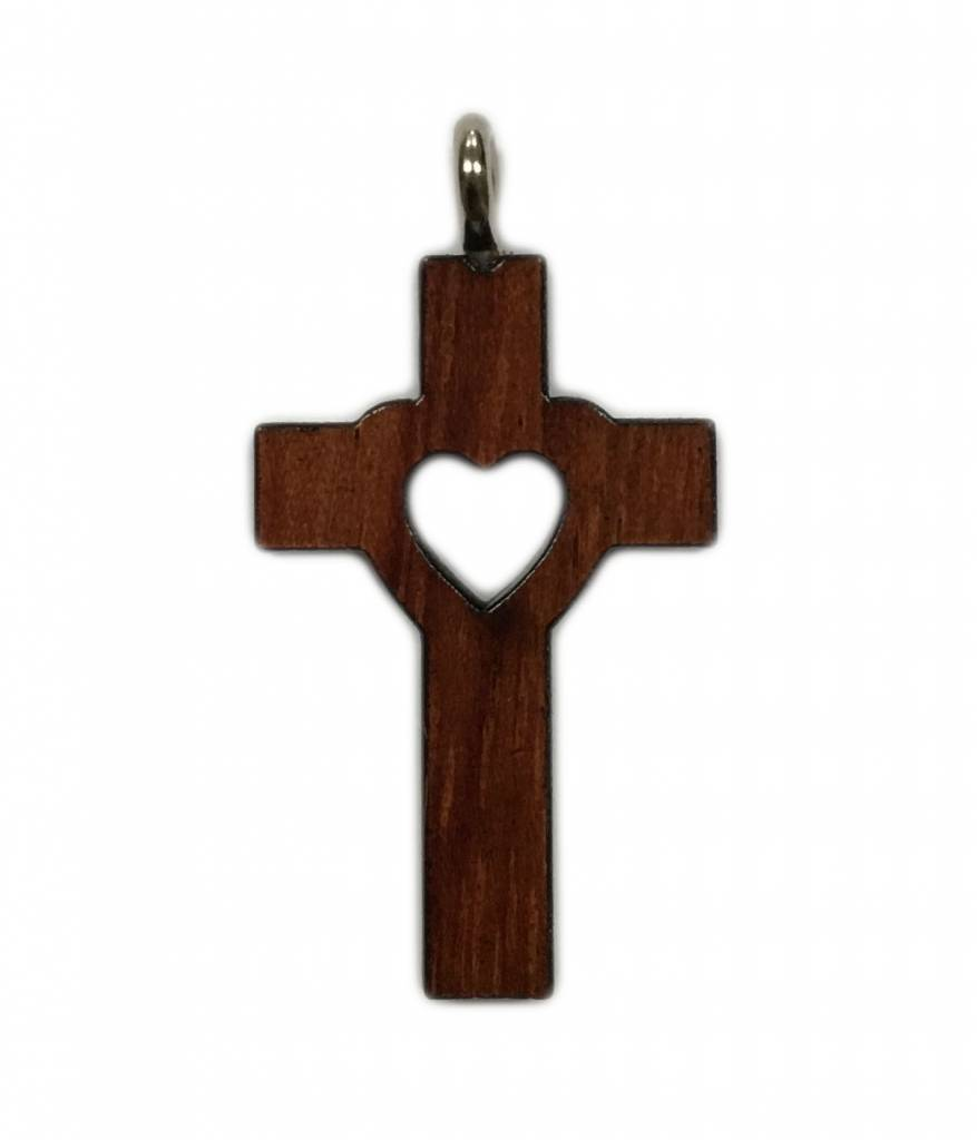 Cut-Out Heart Wood Cross w/Cord