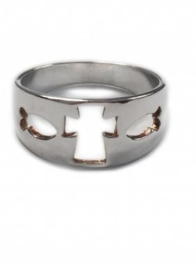 Cut-Out Cross and Fish SS Ring
