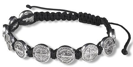 St. Benedict Black Cord Bracelet (All Medals)