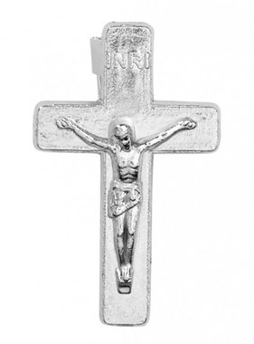 Silver Crucifix Lapel Pin