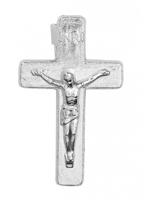 Silver Crucifix Lapel Pin