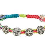 St. Benedict Medals Rainbow Cord Bracelet