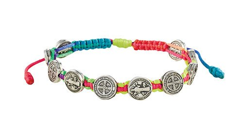 St Benedict Medals Rainbow Cord Bracelet