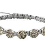 St. Benedict Medals Gray Cord Bracelet