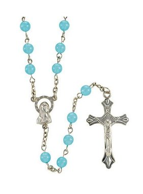 6mm Blessed Mother Blue Luminous Rosary