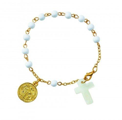St. Benedict Shell Cross Rosary Bracelet