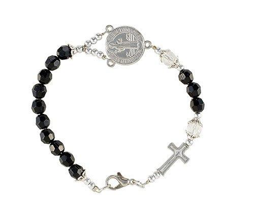 St. Benedict Black Rosary Bracelet w/Cross