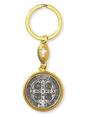 St. Benedict Two-Tone Keychain