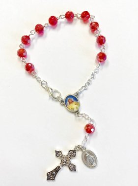 Divine Mercy Auto Rosary-Red