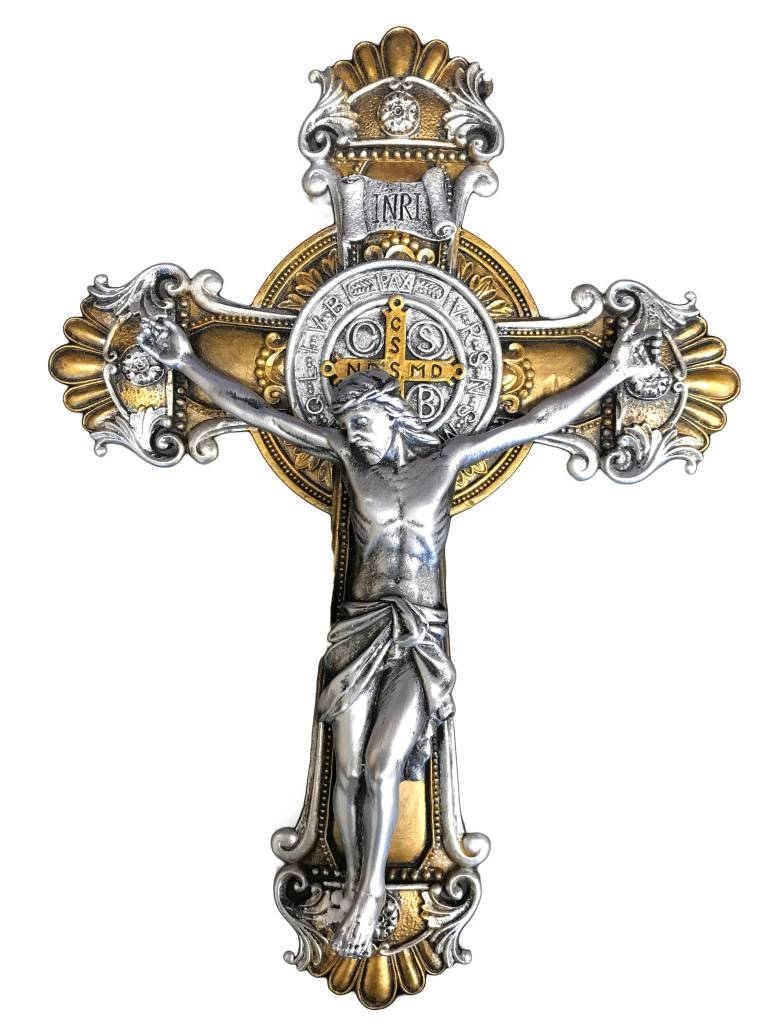 St Benedict Two-Toned Ornate Wall Crucifix
