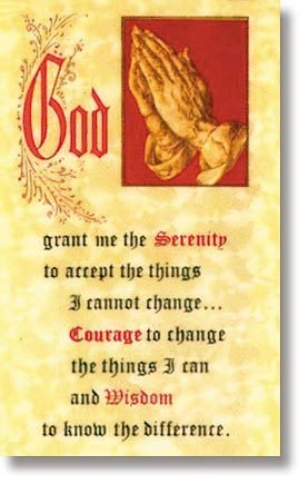 Serenity Prayer Card/ Prayer for those Growing Old