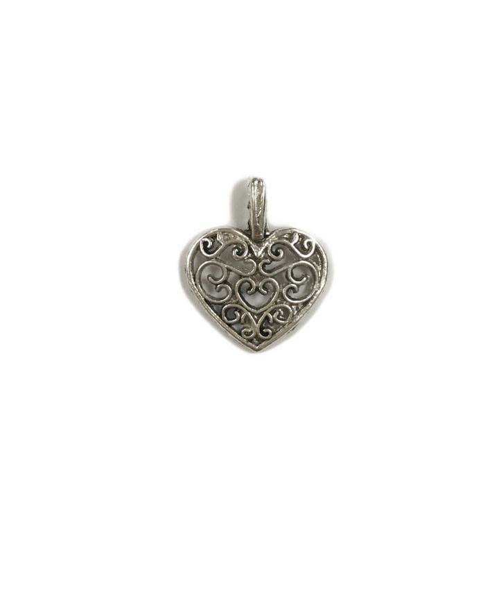 Laced Heart Metal Charm