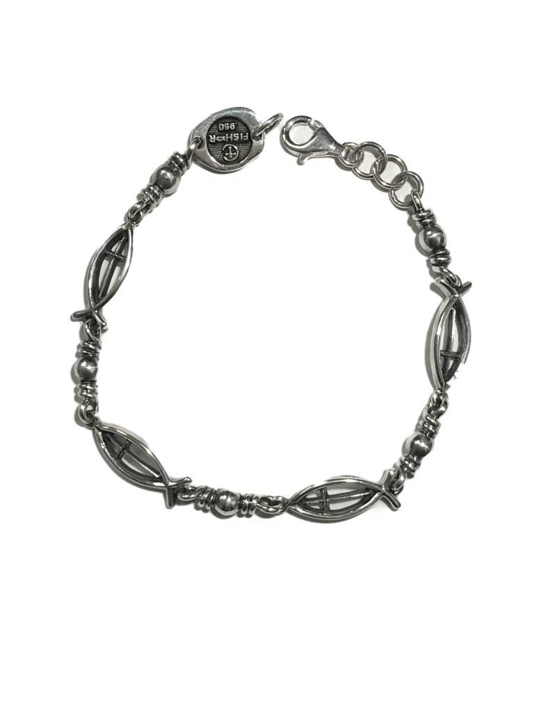 """Ichthus Link w/Cross SS Bracelet 8.5"""""""