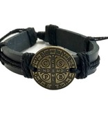 St. Benedict Medal Leather Bracelet