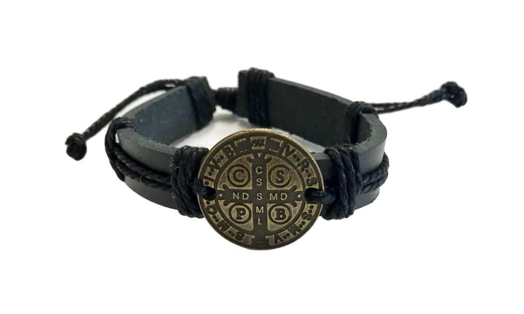 St Benedict Medal Leather Bracelet