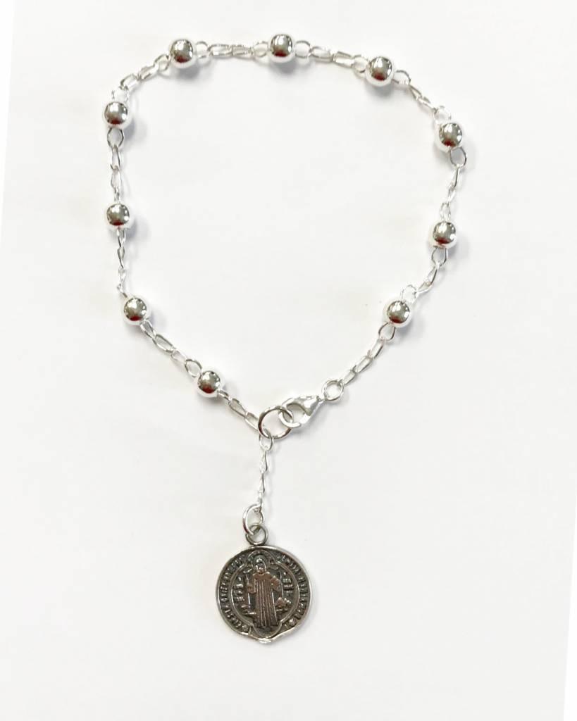 St. Benedict Medal SS Rosary Bracelet