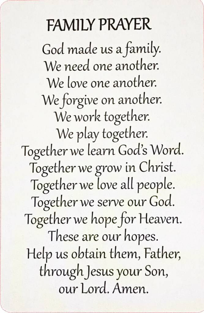 Family Wallet Prayer Card