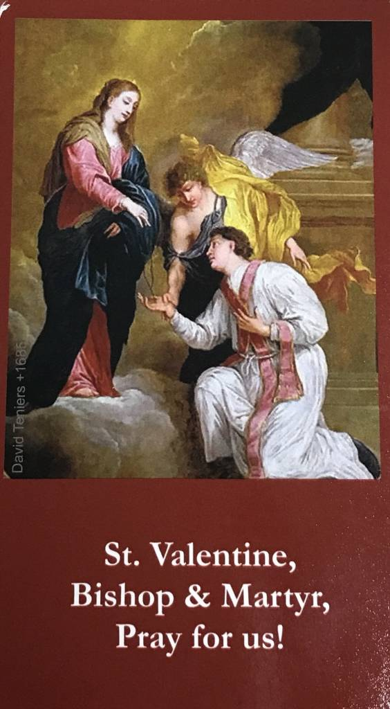 st valentine exchange prayer card - Saint Valentine Prayer