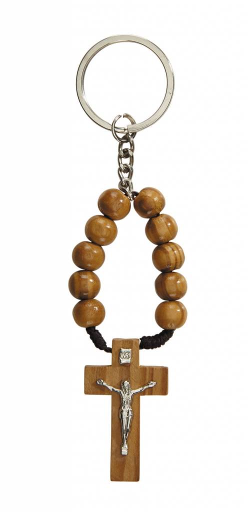 One Decade Wood Bead Rosary Keychain