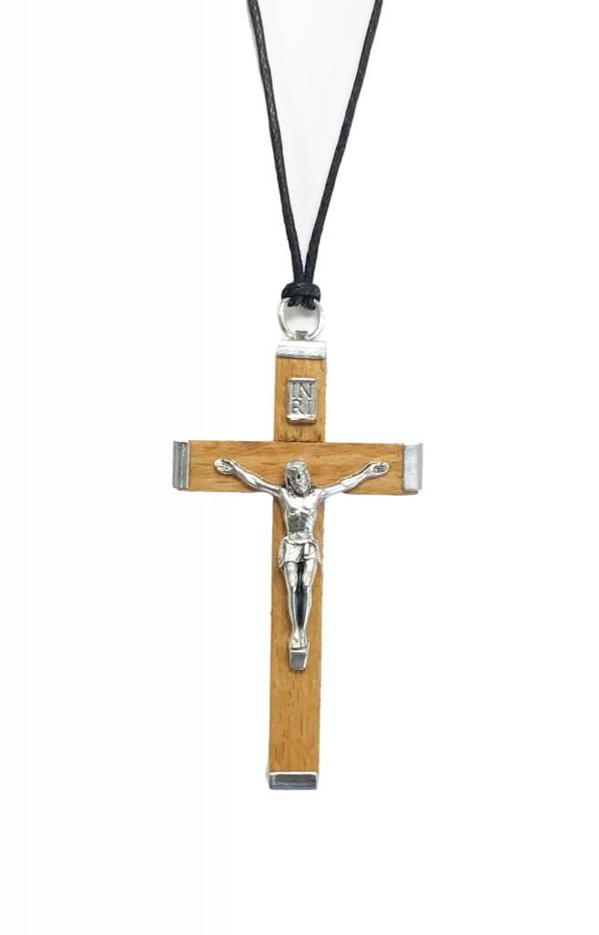 "Natural Wood Crucifix w/cord 1.75"""