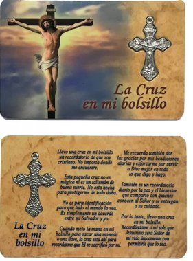 Spanish Cross In My Pocket Prayer Card w/Crucifix