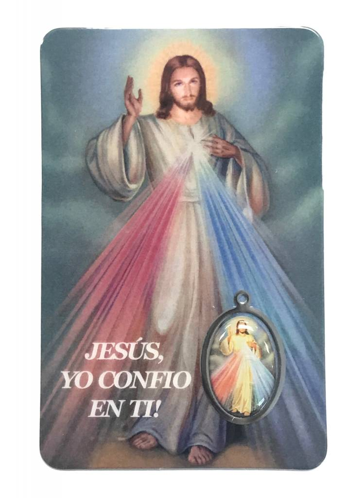 Spanish Divine Mercy Prayer Card w/medal