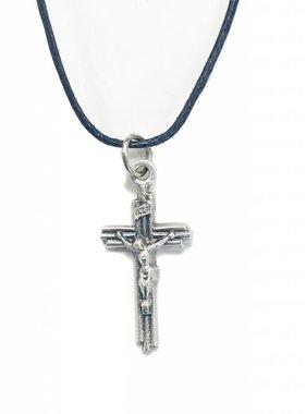 "Layered Cross Pendant w/cord 1-1/8"""