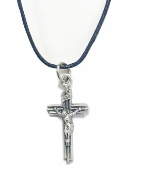 Layered Crucifix Pendant w/cord 1-1/8""