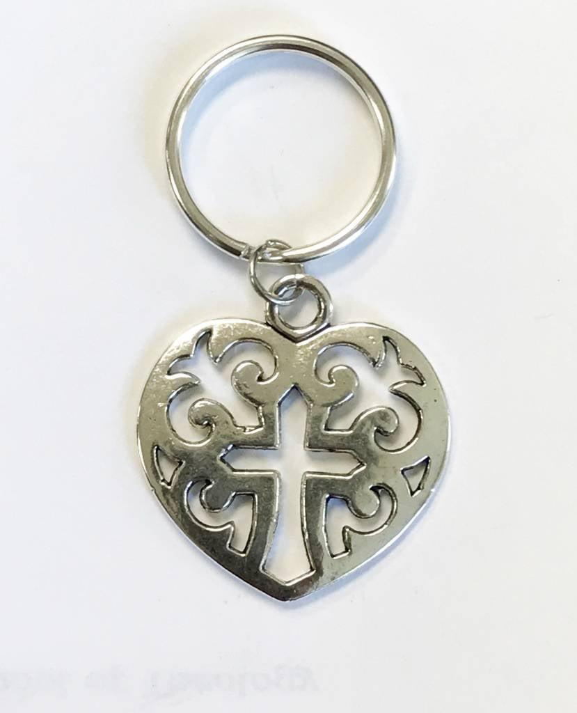 Large Heart w/Cross Keychain