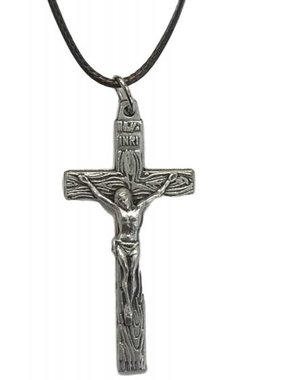 "Wood Grain Metal Crucifix 1.5"" w/cord"