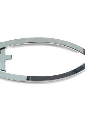 Silver Ichthus w/Cross Auto Emblem
