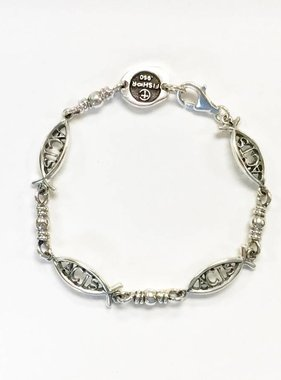 Small ACTS Ichthus Link SS Bracelet 7.5