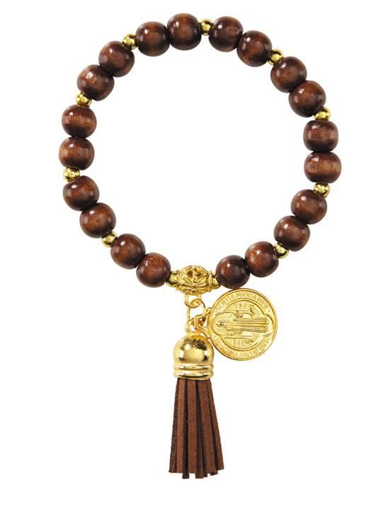 St. Benedict Wooden Charm Bracelet w/Tassel