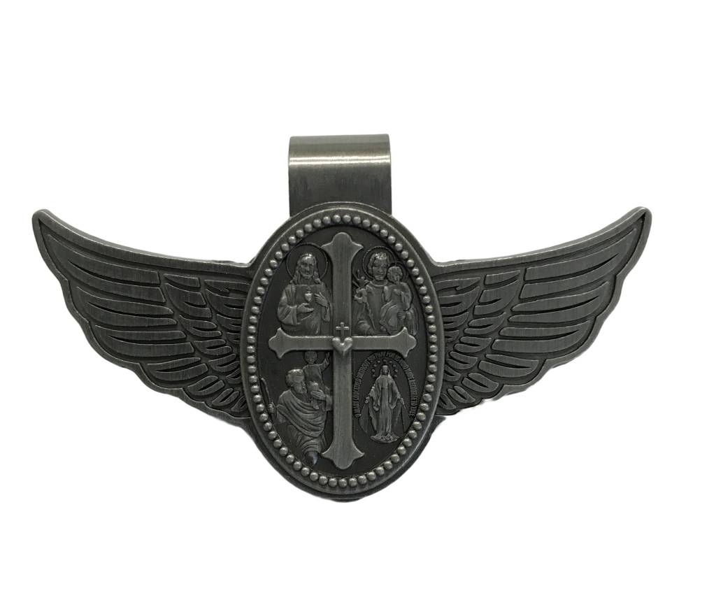 Four Way Medal Pewter Auto Visor Clip