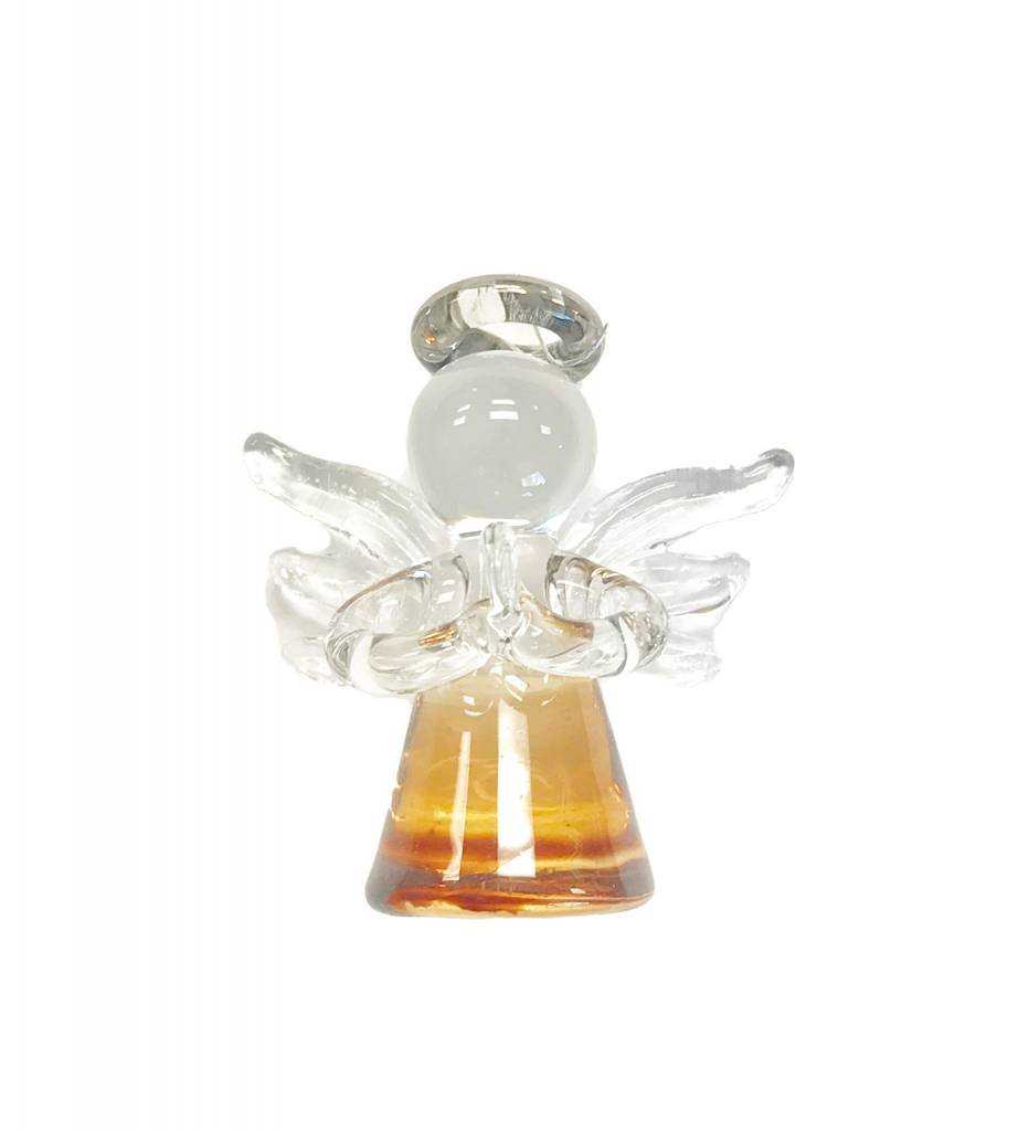 Brown Mini Angel Glass Ornament