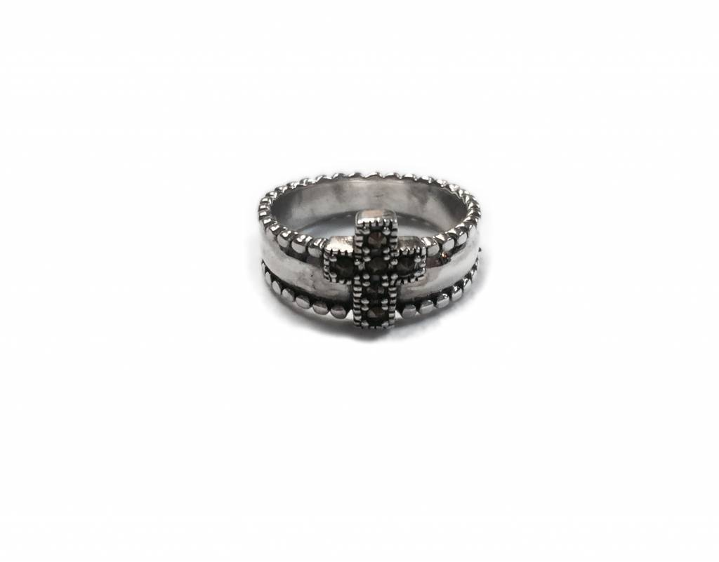 Marcasite Cross SS Ring