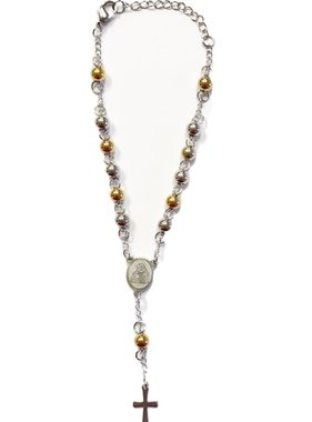 Two-Tone Stainless Steel Auto Rosary