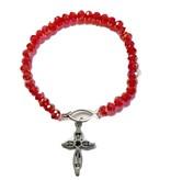 Red Glass Bead Jesus Fish Bracelet